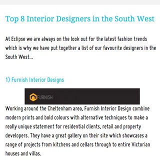 Furnish Interior Design Named As One Of The Top 8 Designers In South West